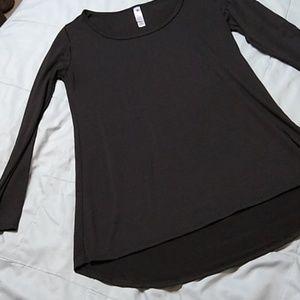 Lularoe Lynnae Solid Black Long Sleeved Shirt XXS